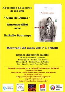 affiche_rencontre Nathalie Bontemps_29 mars 2017